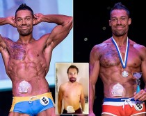 Blake Beckford (33), dad-of-one who had a stoma bag fitted after suffering from an inflammatory bowel disease for ten years has defied doctors to become a winning male FITNESS MODEL.  A fitness model who defied medics by relaunching his career after being struck down with a bowel disease has won his first competition - by sporting his colostomy BAG on stage.  See NTI story NTIBAG.  Hunky Blake Beckford was left devastated when he was diagnosed with Ulcerative Colitis in 2003 just as he was preparing to compete.  The 33-year-old was treated with a variety of different drugs to keep the chronic bowel disease under control over the next decade.  He was forced to stop his strict training regime - which had included two-hour gym sessions six days a week - and lost two stone in weight as his muscle wasted away.  Blake also had to give up his dream of making it big in the fitness world because his condition meant he was unable to keep his sculpted body in top shape.  He lived with the debilitating disease for ten years until a flare up at the end of 2012 left him constantly fatigued and needing to go to the toilet 20 times a day.  After being discharged from hospital at the end of November, he was told by doctors that he would never be able to train at the level he would need to become a fitness model.  But undeterred, brave Blake - who weighed 11st 12lbs when he left hospital - started going to the gym in January this year and slowly increased his training schedule.  And incredibly, less than a year later he has beaten off hundreds of other men to be crowned the champion of a national male fitness modelling competition.